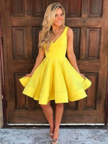 Cute A Line V Neck Open Back Yellow Satin Short Homecoming Dresses Under 100, Simple Short Party Dresses HD0816001