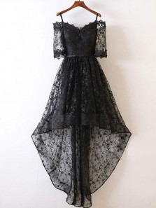 Charming A Line Off the Shoulder Half Sleeves Black Lace High Low Prom Dresses, Elegant Evening Dresses