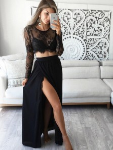 Charming A Line Two Piece Round Neck Slit Long Sleeves Black Lace Long Prom Dresses, Elegant Evening Dresses