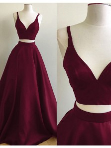 Charming Ball Gown Two Piece V Neck Open Back Burgundy Satin Long Prom Dresses, Elegant Evening Dresses PD0816004