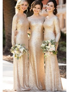 Elegant Sheath Scoop Long Sleeves Sequins Gold Long Bridesmaid Dresses BD0816003