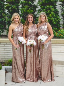 Elegant Sheath One Shoulder Blush Sequins Long Bridesmaid Dresses BD0816004