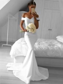 Elegant Mermaid Off the Shoulder Elastic Satin White Lace Long Prom Dresses, Formal Elegant Evening Dresses