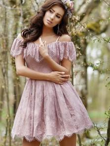 Cute A Line Off the Shoulder Open Back Blush Lace Short Homecoming dresses, Elegant Short Prom Dresses HD0816004