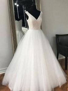 Elegant Ball Gown V Neck Tulle White Long Prom Dresses with Beading, Formal Evening Dresses