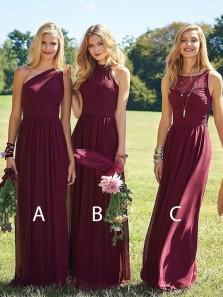 Sheath One Shoulder Chiffon Burgundy Lace Long Bridesmaid Dresses Under 100 BD0816005