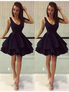 Cute A Line V Neck Satin Short Black Homecoming Dresses, Simple Short Party Dresses HD0816008