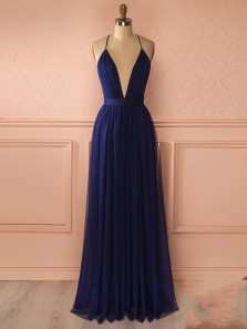 Charming A Line V Neck Backless Chiffon Navy Long Prom Dresses, Simple Evening Dresses PD0817003