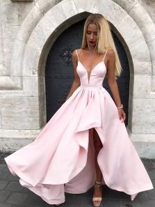 Charming A Line V Neck Spaghetti Straps Backless Satin Pink Long Prom Dresses, Formal Evening Dresses