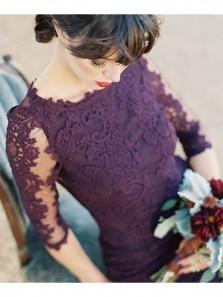 Charming Mermaid Scoop Open Back Grape Lace Long Bridesmaid Dresses, Elegant Prom Dresses  BD0817001