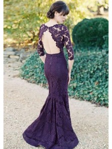 Charming Mermaid Scoop Open Back Grape Lace Long Bridesmaid Dresses, Elegant Prom Dresses  BD0817001