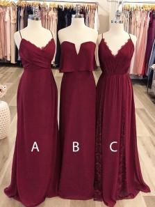 Charming Sheath V Neck Burgundy Chiffon Lace Long Bridesmaid Dresses Unader 100 BD0817002