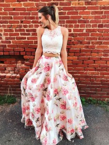 A Line Tow Piece Round Neck Chiffon Printing White Lace Long Prom Dresses, Formal Quinceanera Dresses, Long Homecoming Dresses