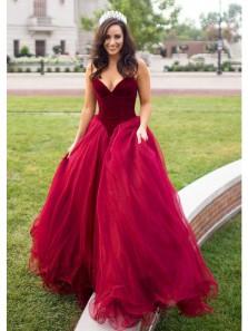 Gorgeous Ball Gown V Neck Strapless Wine Tulle Velvet Long Prom Dresses, Pageant Dresses, Quinceanera Dresses
