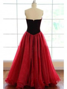 Gorgeous Ball Gown V Neck Strapless Wine Tulle Velvet Long Prom Dresses, Pageant Dresses, Quinceanera Dresses
