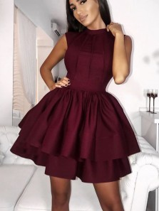 Cute A Line Round Neck Satin Burgundy Short Homecoming Dresses, Short Party Dresses