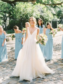 Charming A Line V Neck Backless Ivory Chiffon Wedding Dresses WD0817001