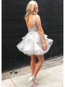 Cute A Line V Neck Open Back Organza Lace Short Homecoming Dresses, Short Party Dresses