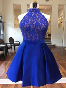 Cute A Line Halter Satin Royal Blue Lace Short Homecoming Dresses with Pockets, Formal Short Prom Dresses HD0817001
