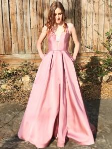 Gorgeous A Line V Neck Open Back Beaded Blush Pink Satin Long Prom Dresses with Pockets, Formal Elegant Evening Dresses