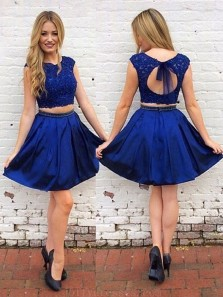 Cute A Line Two Piece Round Neck Open Back Royal Blue Lace Short Homecoming Dresses with Beading, Formal Short Prom Dresses