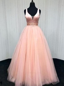 Gorgeous Ball Gown V Neck Open Back Tulle Peach Long Prom Dresses with Beading, Formal Evening Dresses