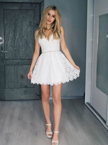 Cute A Line V Neck Spaghetti Straps White Lace Short Homecoming Dresses, Pretty Short Prom Dresses