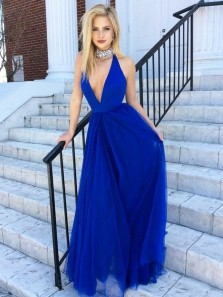 Charming A Line V Neck Open Back Tulle Royal Blue Long Prom Dresses, Sexy Evening Dresses Under 100 PD0818006