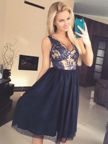 Cute A Line V Neck Open Back Tulle Navy Lace Short Homecoming Dresses, Beautiful Short Prom Dresses