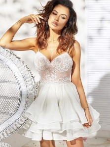 Cute A Line Sweetheart Spaghetti Straps White Lace Short Homecoming Dresses, Pretty Short Prom Dresses