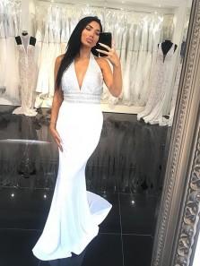 Gorgeous Mermaid V Neck Backless Elastic Satin Beading White Long Prom Dresses, Elegant Prom Dresses