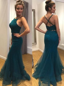 Gorgeous Mermaid Two piece Round Neck Cross Back Dark Green Lace Long Prom Dresses, Formal Elegant Evening Dresses