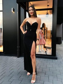 Charming Sheath Sweetheart Slit Velvet Black Long Prom Dresses, Elegant Evening Dresses