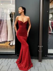 Gorgeous Mermaid Sweetheart Spaghetti Straps Backless Sequins Wine Long Prom Dresses, Elegant Evening Dresses PD0818012