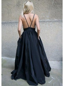 Charming Ball Gown V Neck Backless Satin Black Long Prom Dresses with Pockets, Formal Evening Dresses