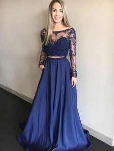 Charming A Line Two Piece Scoop Open Back Long Sleeses Navy Blue Lace Long Prom Dresses, Formal Elegant Evening Dresses