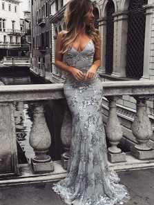 Gorgeous Mermaid V Neck Backless Silver Sequin Prom Dress, Evening Party Dresses PM0012