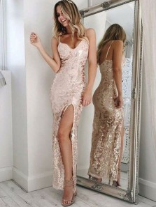 Charming Sheath Sweetheart Spaghetti Straps Backless Slit Pink Sequins Long Prom Dresses, Sequins Party Dresses PD0820002