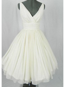 Cute A Line V Neck Open Back Ivory Chiffon Short Homecoming Dresses Under 100, Formal Short Party Dresses