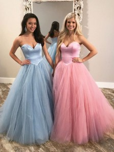 Sparkly Ball Gown Sweetheart Open Back Tulle Blue Long Prom Dresses, Formal Long Evening Dresses