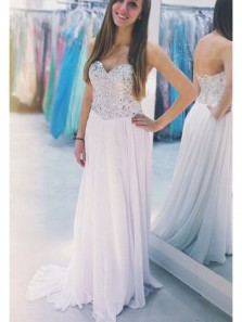 Sparkly A Line Sweetheart Open Back White Chiffon Long Prom Dresses with Beading, Beautiful Party Dresses