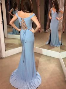 Charming Mermaid Off the Shoulder Slit Blue Long Prom Dresses with Train, Elegant Evening Dresses