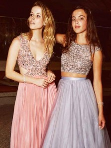 Gorgeous Two Piece A Line V Neck Coral Chiffon Long Prom Dresses with Beading, Formal Pretty Evening Dresses