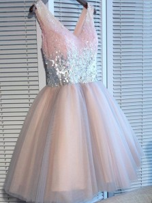 Cute A Line V Neck Sequins Pink Short Homecoming Dresses, Elegant Short Prom Dresses