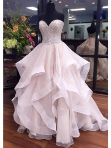 Elegant Ball Gown Sweetheart Organza Peal Pink Long Prom Dresses with Beading, Pretty Quinceanera Dresses