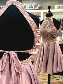 Gorgeous A Line Halter Open Back Chiffon Blush Short Homecoming Dresses with Beading, Formal Short Prom Dresses
