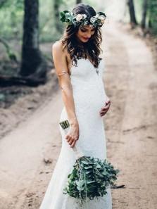 Elegant Mermaid Spaghetti Straps White Lace Long Wedding Dresses with Train