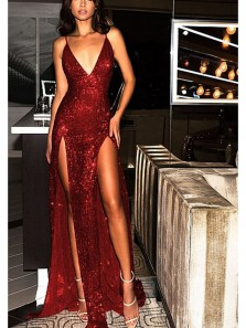 Gorgeous Sheath V Neck Spaghetti Straps Slit Wine Sequins Long Prom Dresses, Sexy Party Dresses PD0820015