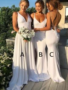 Charming Mermaid V Neck Backless White Long Bridesmaid Dresses