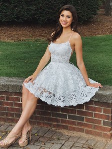 Cute A Line Sweetheart Spaghetti Straps Backless White Lace Short Homecoming Dresses, Formal Elegant Short Prom Dresses HD0820017